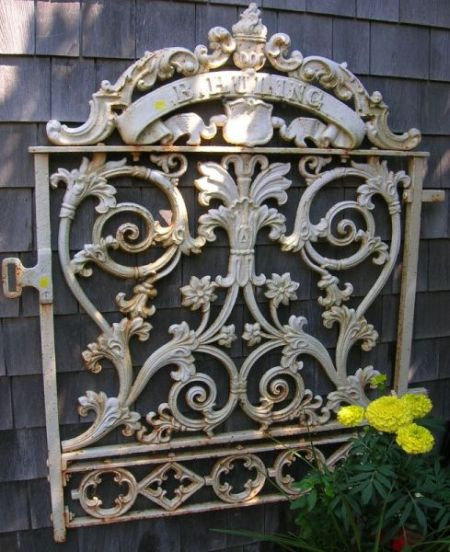 """White Painted Victorian Cast Iron Gate, """"B. Huling,"""""""