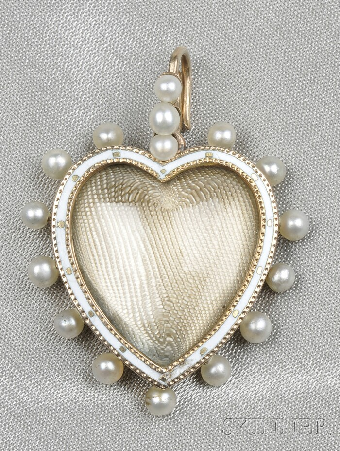 Edwardian Rock Crystal, Enamel, and Seed Pearl Heart Pendant