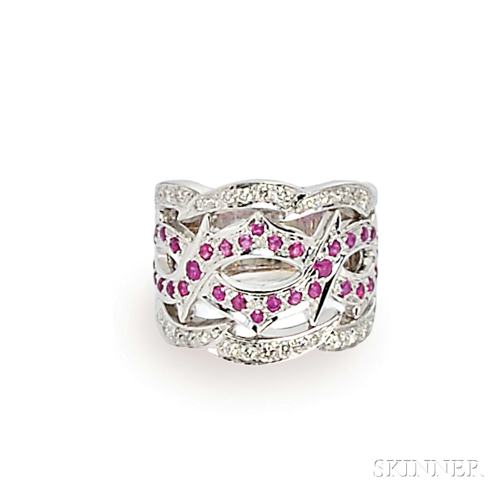 18kt White Gold, Ruby, and Diamond Ring, Stephen Webster