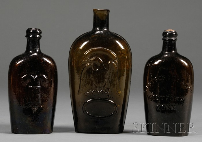 Three Colored Historical Blown Molded Glass Flasks