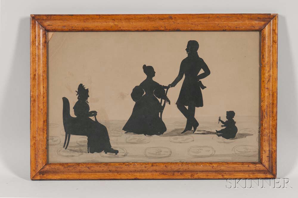 Large Family Group Silhouette