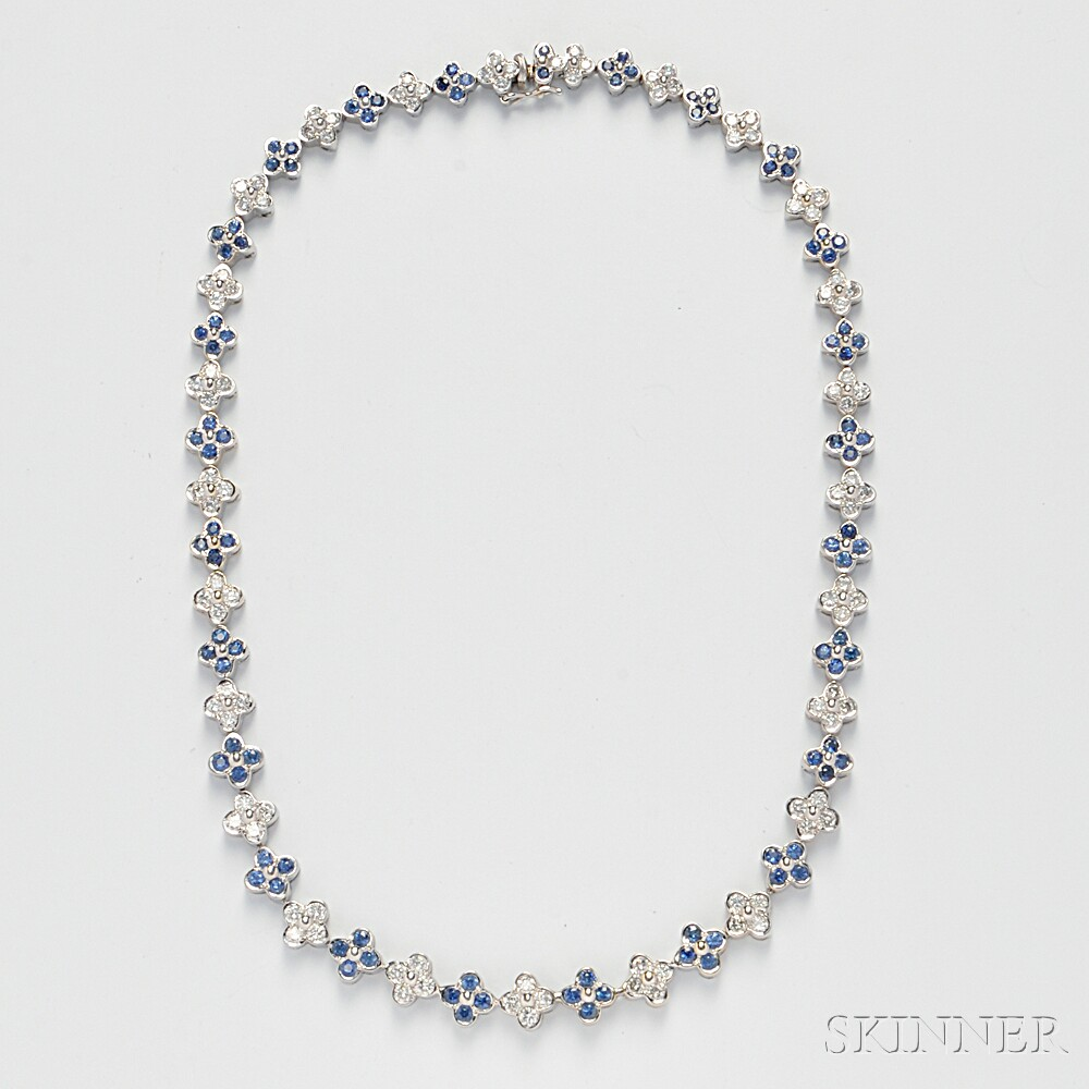 18kt White Gold, Sapphire, and Diamond Necklace