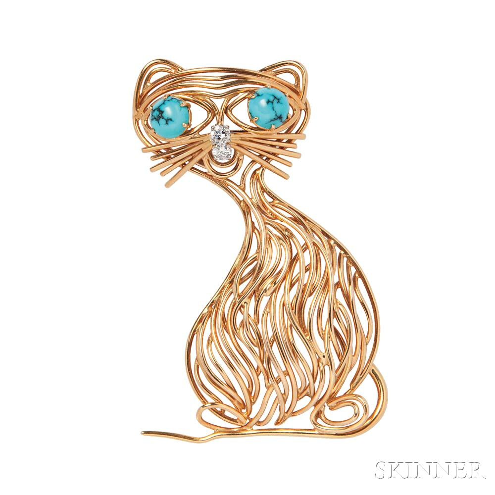 18kt Gold, Turquoise, and Diamond Cat Brooch, Kern