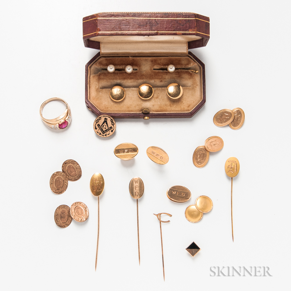 Group of Men's Gold Jewelry and Accessories