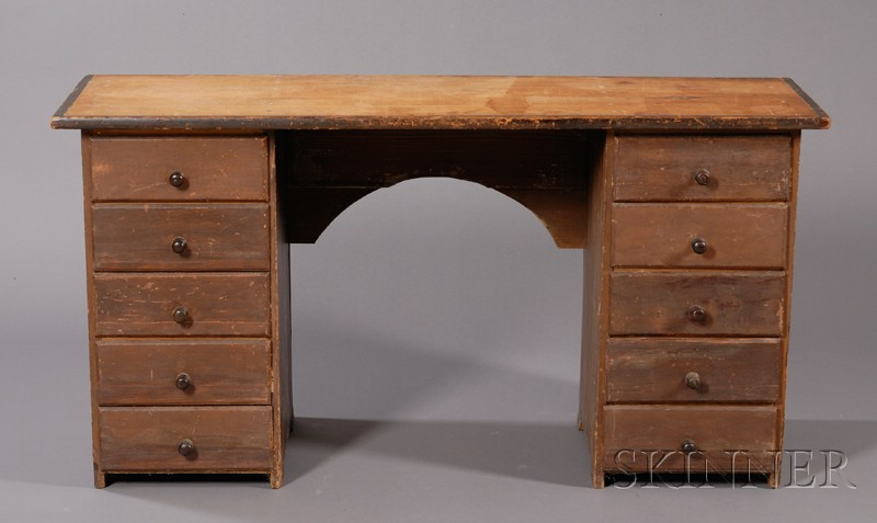 Brown-painted Pine Kneehole Desk