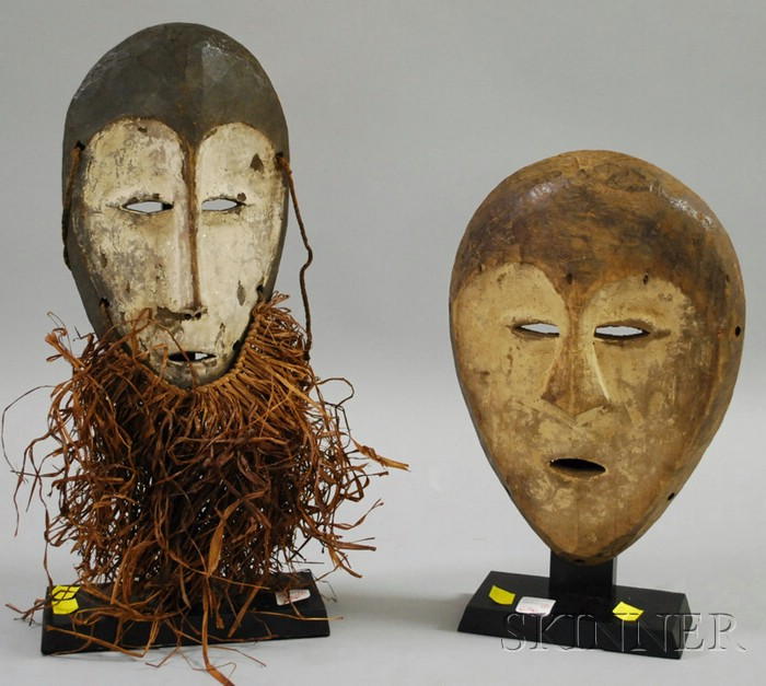 Two Lega Carved Wooden Masks