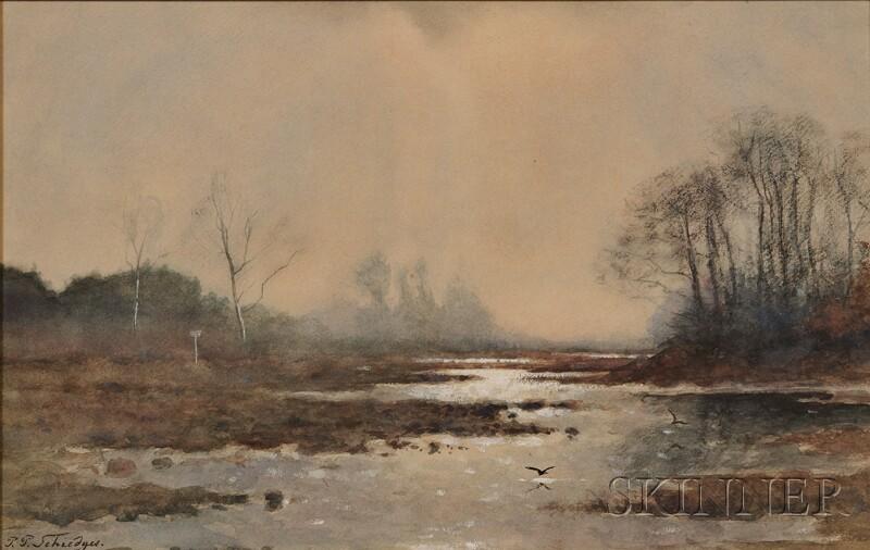 Petrus Paulus Schiedges the Younger (Dutch, 1860-1922)      View of Marsh in Mist