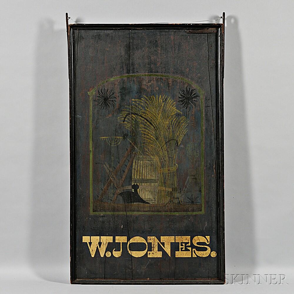 "Two-sided ""W. JONES"" Tavern Sign"