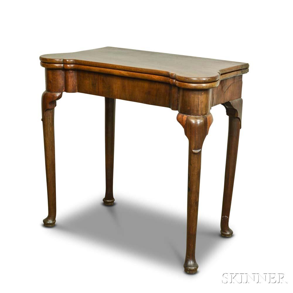 Queen Anne Walnut and Walnut Veneer Card Table