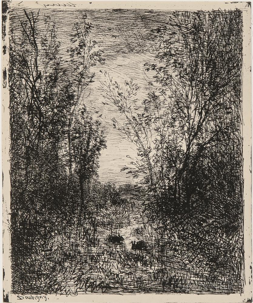 Charles François Daubigny (French, 1817-1878)      Two Landscapes: Le ruisseau dans la clairière