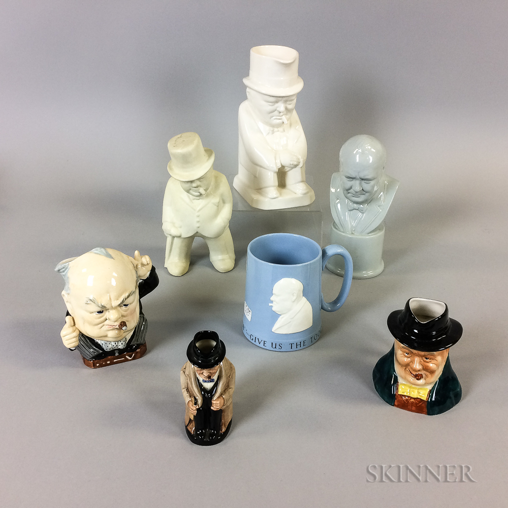 Seven Churchill-related Ceramic Items