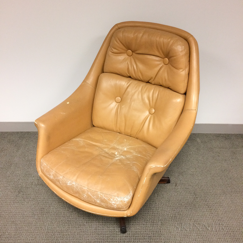 Asko Tan Leather Reclining Swivel Armchair