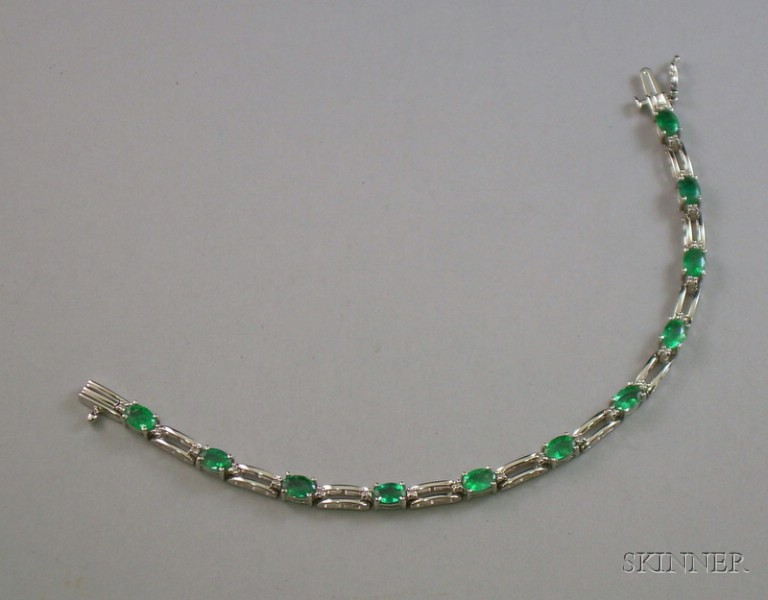 14kt White Gold, Emerald, and Diamond Bracelet