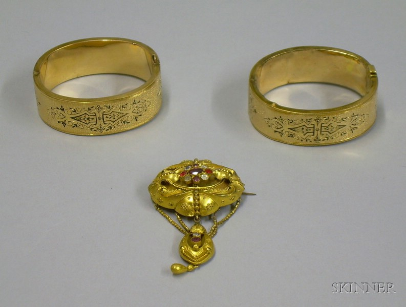 Antique Pair of Gilt and Enamel Bangles