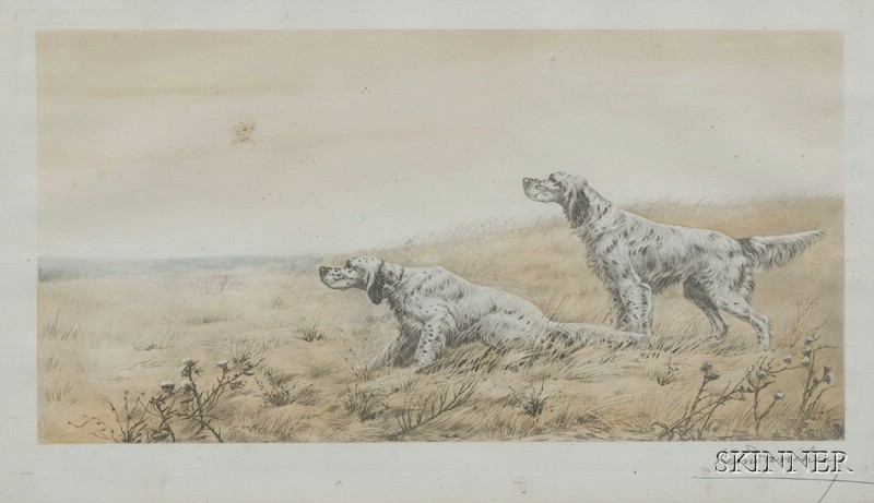 Leon Danchin (French, 1887-1939)      Lot of Two Dog Prints: Setters in the Field