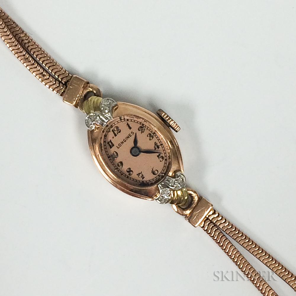 Retro Longines 14kt Rose Gold and Diamond Lady's Wristwatch