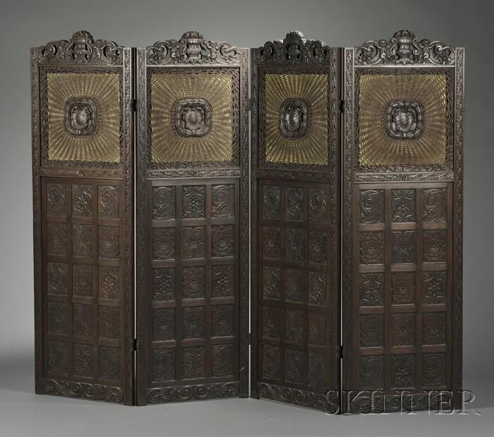 Renaissance Revival Carved Mahogany Four-panel Screen