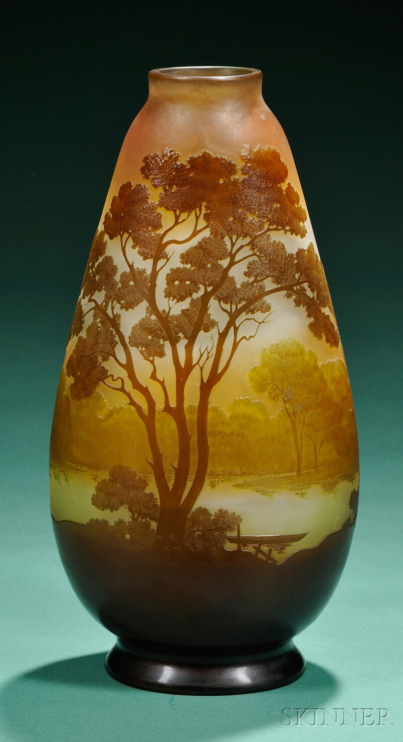 Galle Decorated Cameo Glass Vase