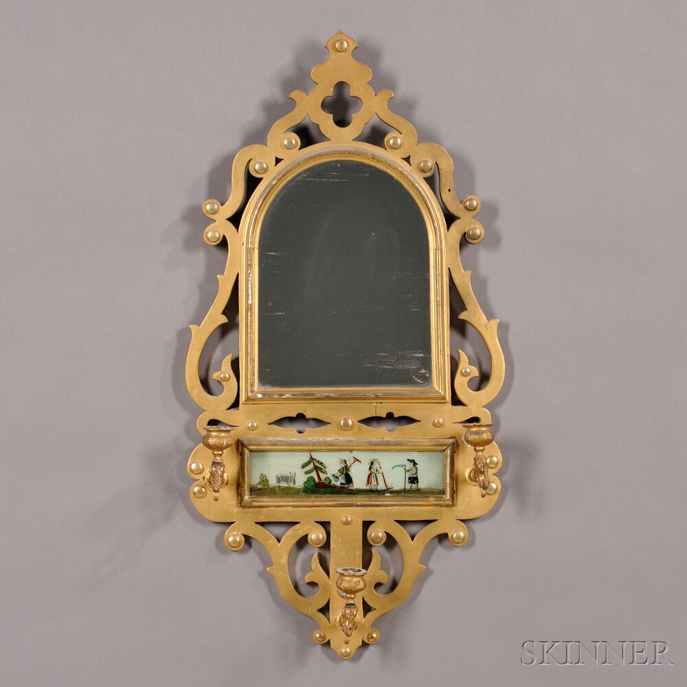 Gilded Gothic Revival Mirror with Reverse-painted Glass