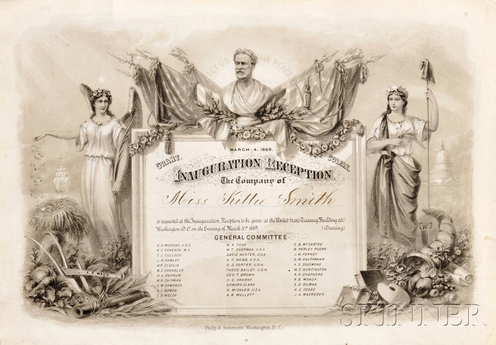 President Ulysses S. Grant 1869 Inauguration Reception Invitation