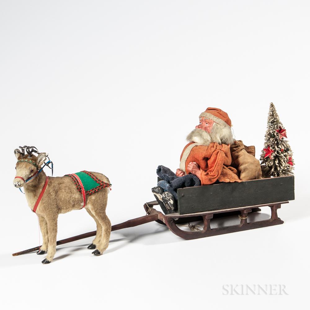 Christmas Sleigh, Santa, and Reindeer