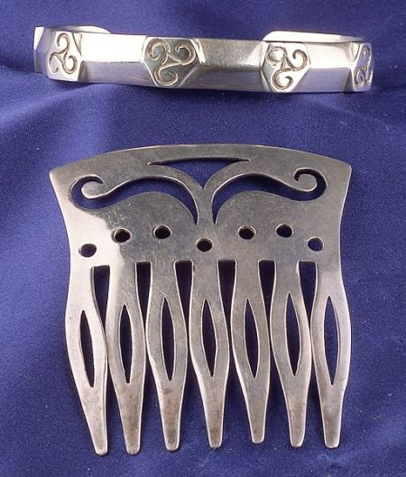 Sterling Silver Cuff Bangle and Comb, Spratling, Taxco