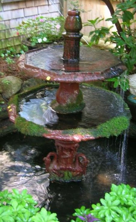 Red Painted Victorian Cast Iron Garden Fountain