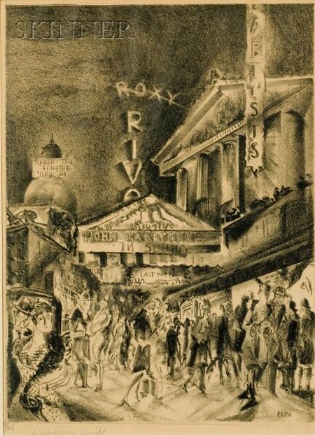 "Eugene Camille Fitsch (American, 1892-1972)    Broadway Night - John Barrymore in ""Sound,"""