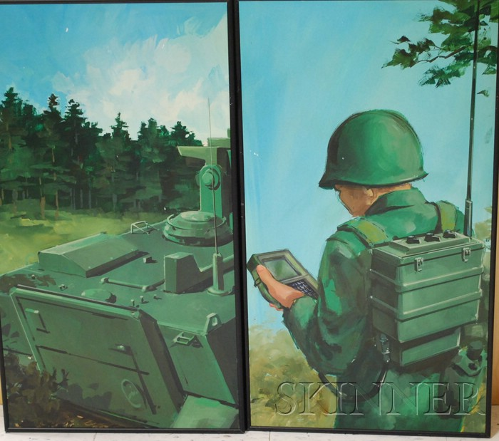 American School, 20th/21st Century      Army Battle Scene/An Installation of Seven Painted Panels.