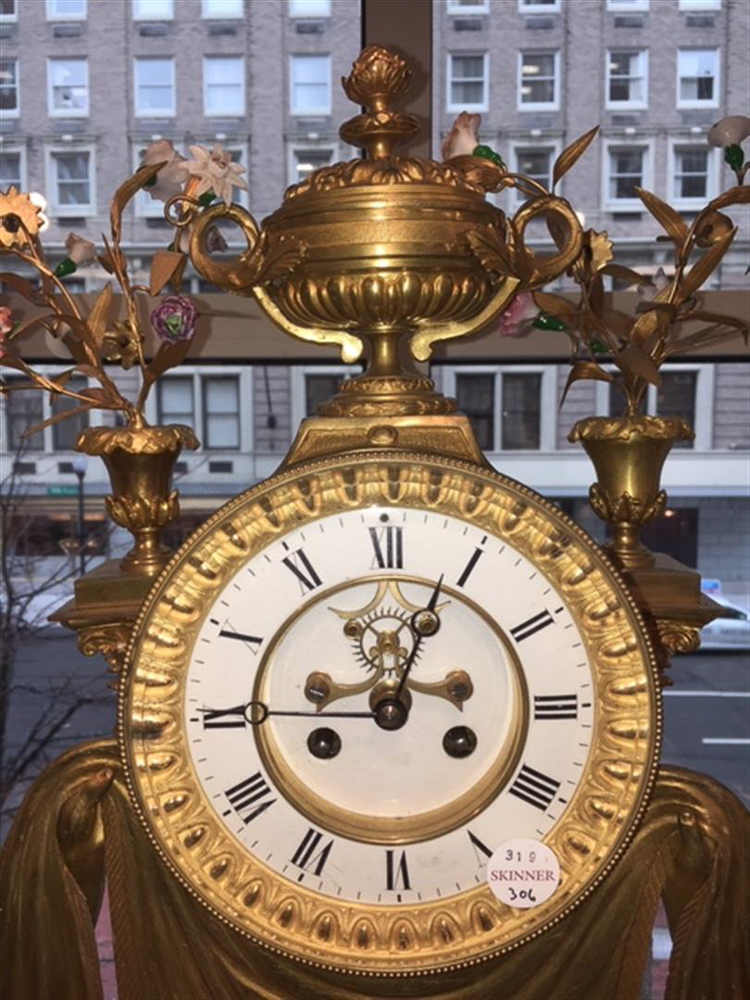 Assembled Empire-style Dore Bronze, Crystal, and Porcelain Three-piece Clock Garniture