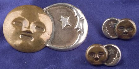 Silver and Copper Sun and Moon Brooch and Earclips, Spratling, Taxco