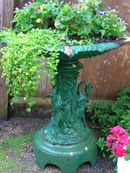 Green Painted Cast Iron Garden Bird Bath with Figural Herons Base