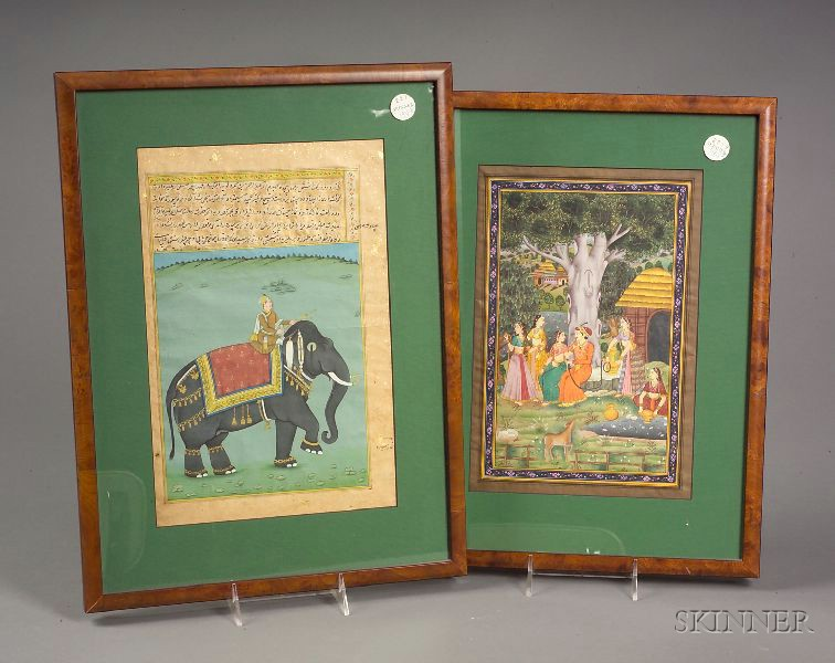 Two Framed Indo-Persian Manuscript Leaves