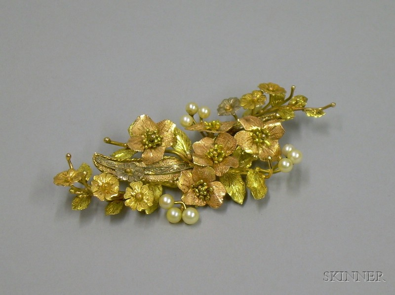 15kt Tri-color Gold and Pearl Floral Spray Brooch
