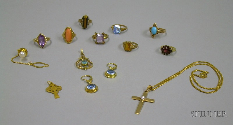 Assorted Gold Gemstone and Cut Glass Estate Jewelry
