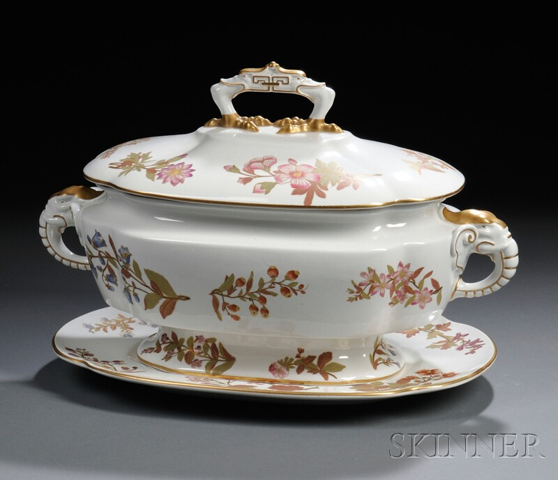 Royal Worcester Porcelain Covered Tureen on Stand