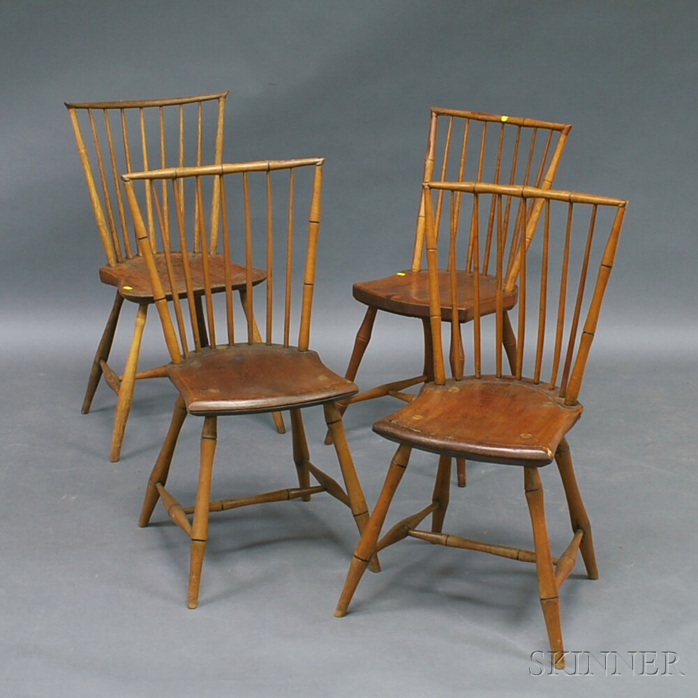Bamboo Turned Chair: Set Of Four Bamboo-turned Windsor Side Chairs