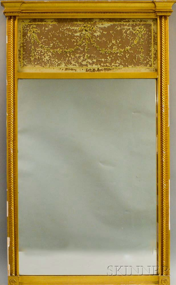 Federal-style Gilt-gesso Eglomise Mirror