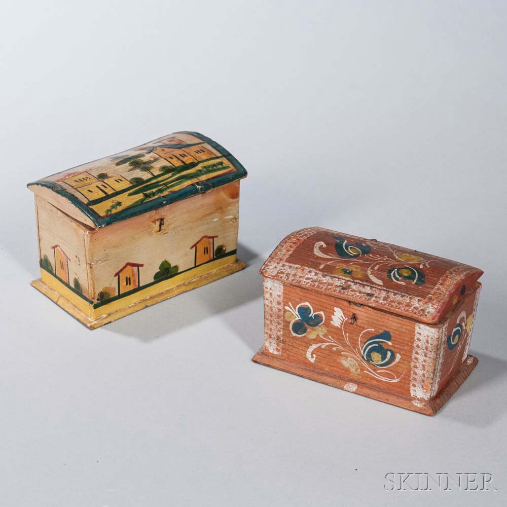 Two Paint-decorated Trinket Boxes
