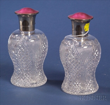 Pair of George V Silver Enamel and Colorless Cut Glass Perfume Bottles