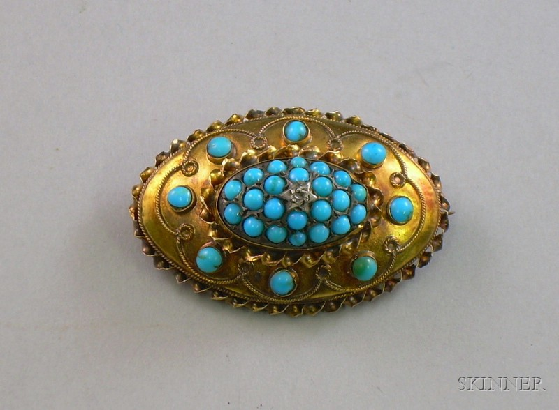Victorian 15kt Gold and Turquoise Oval Brooch, wd. 1 3/4 in.