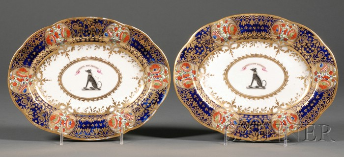 Pair of English Armorial and Imari Palette Porcelain Serving Dishes