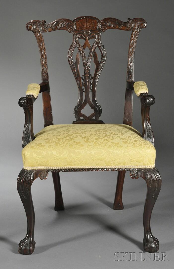 Georgian-style Carved Mahogany Open Armchair
