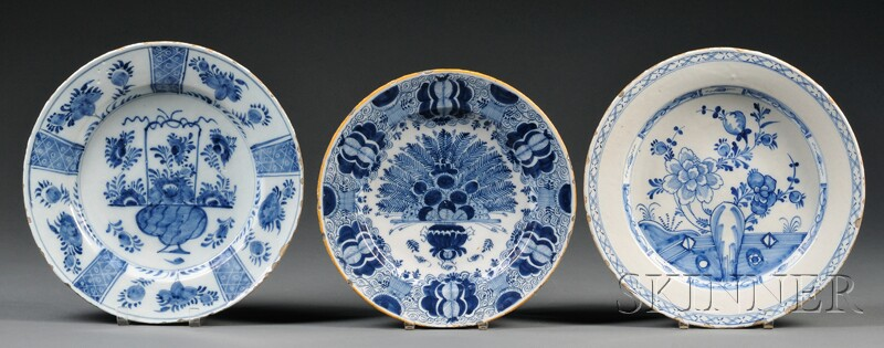 Three Dutch Delft Blue and White Chargers