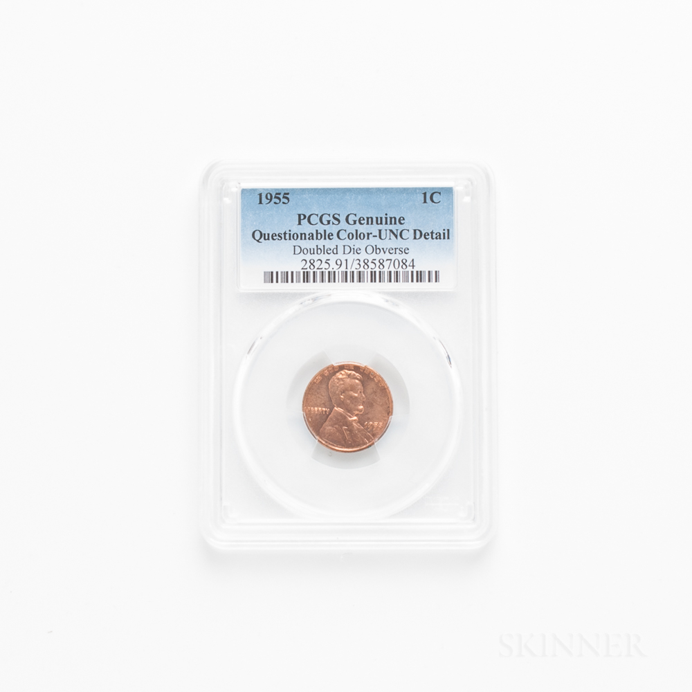 1955 Doubled Die Obverse Lincoln Cent, PCGS UNC Details, Questionable Color.     Estimate $600-800