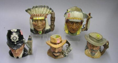 Five Large and Medium Royal Doulton Character Jugs