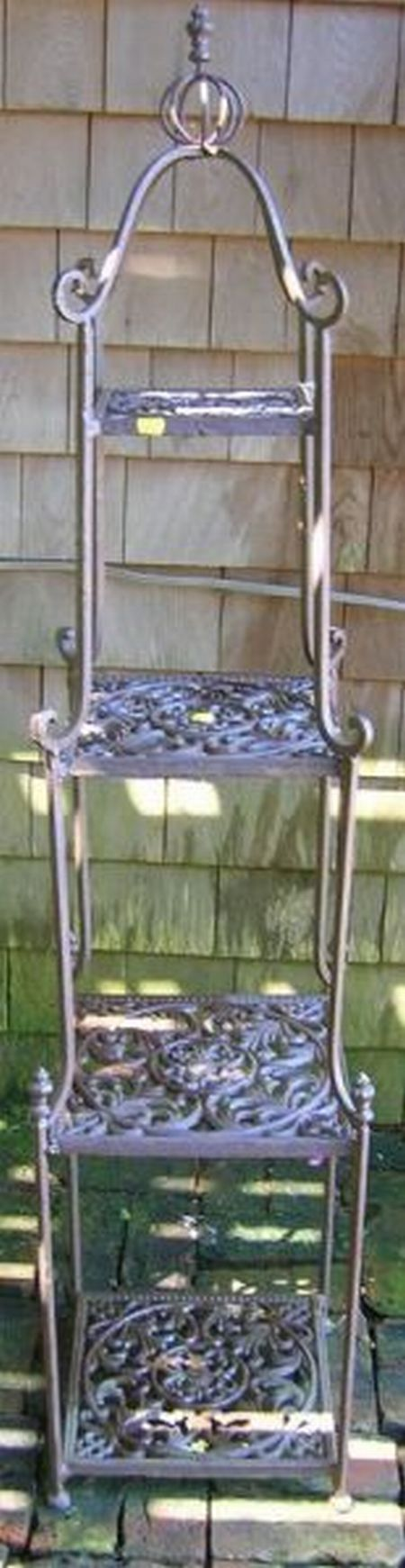 Cast Iron Four-Tier Garden Etagere.