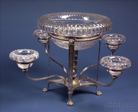 Adam-style Silver Plate and Colorless Cut Glass Eperge