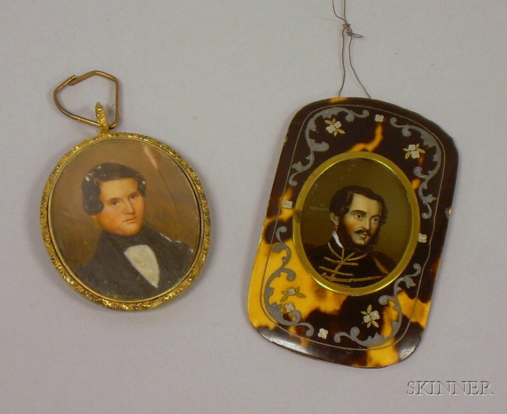 Two Framed Miniature Hand-painted Portraits of Gentlemen