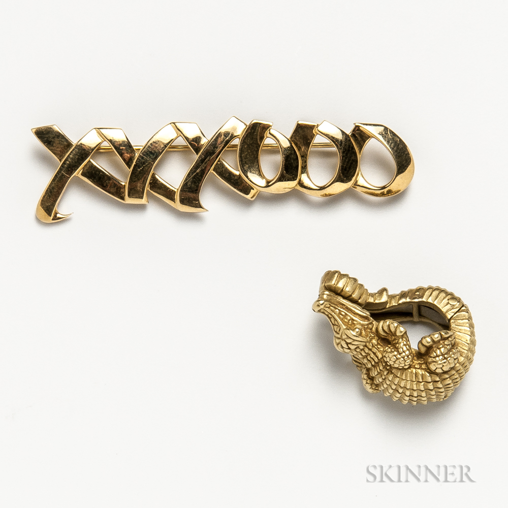 "Tiffany & Co. 18kt Gold ""XXXOOO"" Brooch and Barry Kieselstein-Cord 18kt Gold Alligator Earclip"